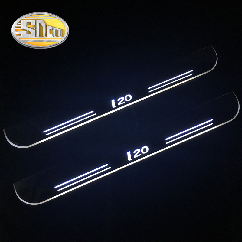 SNCN Waterproof Acrylic Moving LED Welcome Pedal Scuff Plate Pedal Door Sill Pathway Light For Hyundai I20 2015 2016 2017 2018 fsylx led door moving scuff welcome pedal door sill plate light for audi q3 2013 2015 white led pedal light for q7 2006 2015