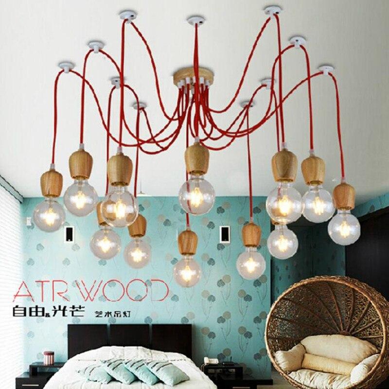 Vintage pendant light Wood colorful indoor lamp wood lighting Hanging LED living decoration ceiling modern light fixture No bulb
