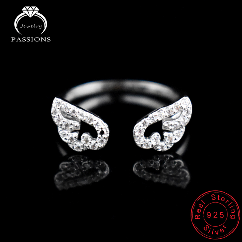 New Fashion 925 ստերլինգ արծաթագույն Angel Wing Rhinestone Rings Fine Personality Feather Adjustable CZ Ring կանանց նվեր LYNNE զարդեր