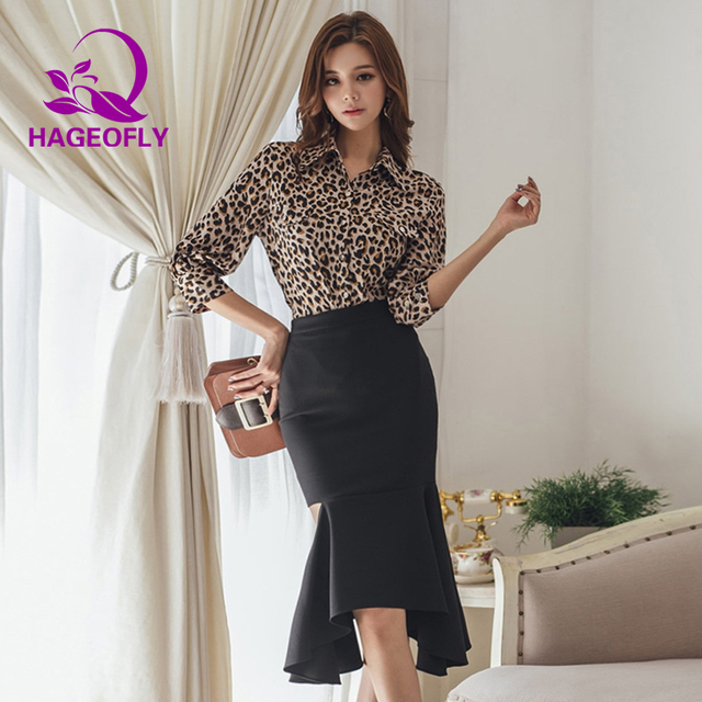 249bed748cc 2019 New Korean Fashion Suit Two Pieces Sets Leopard Shirt Long Sleeved  Tops Blouse Irregular Pencil Mermaid Skirt Women s Suit