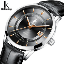 IK Colouring Automatic Watch Men Thin Wristwatch Leather Strap Waterproof Male Clock 40.5MM Mechanical Watches erkek kol saati ik colouring luxury brand mechanical hand wind watches nail scale hollow hardlex full steel business mens watch erkek kol saati