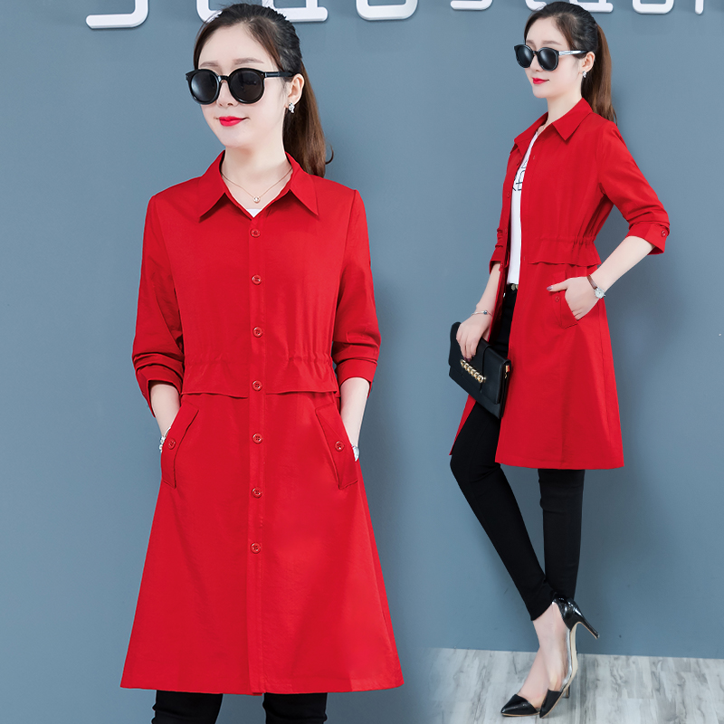 Spring Autumn Women Casual Long   Trench   Coat Plus size Slim Red Khaki Pink Thin Windbreaker Female Fashion Outerwear   Trench   Mujer