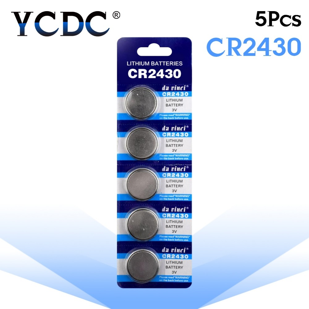 YCDC Hot Selling 5 Pcs 3V Lithium Coin Cells Button Battery CR2430 DL2430 BR2430 ECR2430 KL2430 EE6229