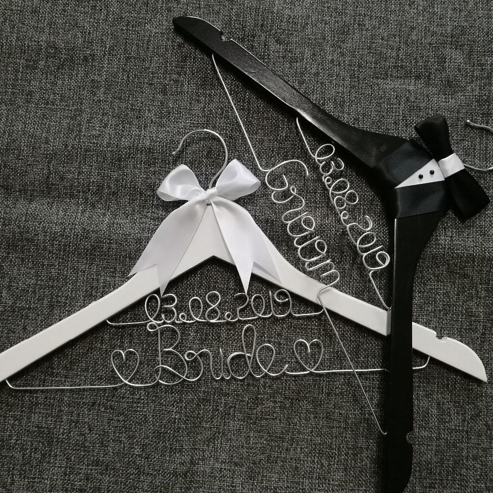 Two Wedding Hanger,With  Date,groom Gifts, Name Hanger, Brides Hanger, Custom Bridal Gift,Personalized Wedding Gi