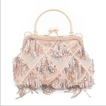 Angelatracy 2018 Fashion Sequined Ins Phone Pocket Frame Hot Tassel Chain Bohemian Womens Shoulder Messenger Evening Bag Totes
