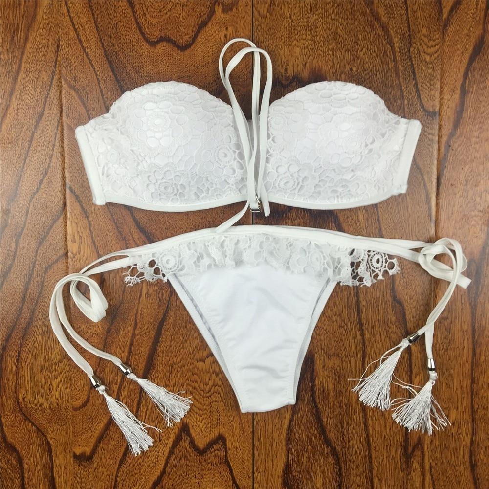 18 Summer Style Floral Print Women Bikinis Set Crochet Lace Swimsuit Strapless Push Up Bandeau Biquinis Beachwear Bathing Suit 12