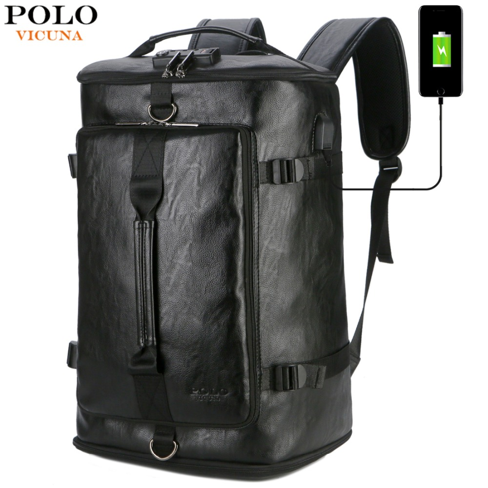 VICUNA โปโลใหม่ Anti theft หนัง Man กระเป๋าเป้สะพายหลังกระเป๋ารหัสผ่านล็อค USB ชาร์จกระเป๋าเป้สะพายหลังแล็ปท็อป mochila-ใน กระเป๋าเป้ จาก สัมภาระและกระเป๋า บน AliExpress - 11.11_สิบเอ็ด สิบเอ็ดวันคนโสด 1