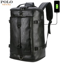 VICUNA POLO New Anti-theft Leather Man Bakcpack Bag With Password Lock Design USB Charging Travel Laptop Men Backpack mochila