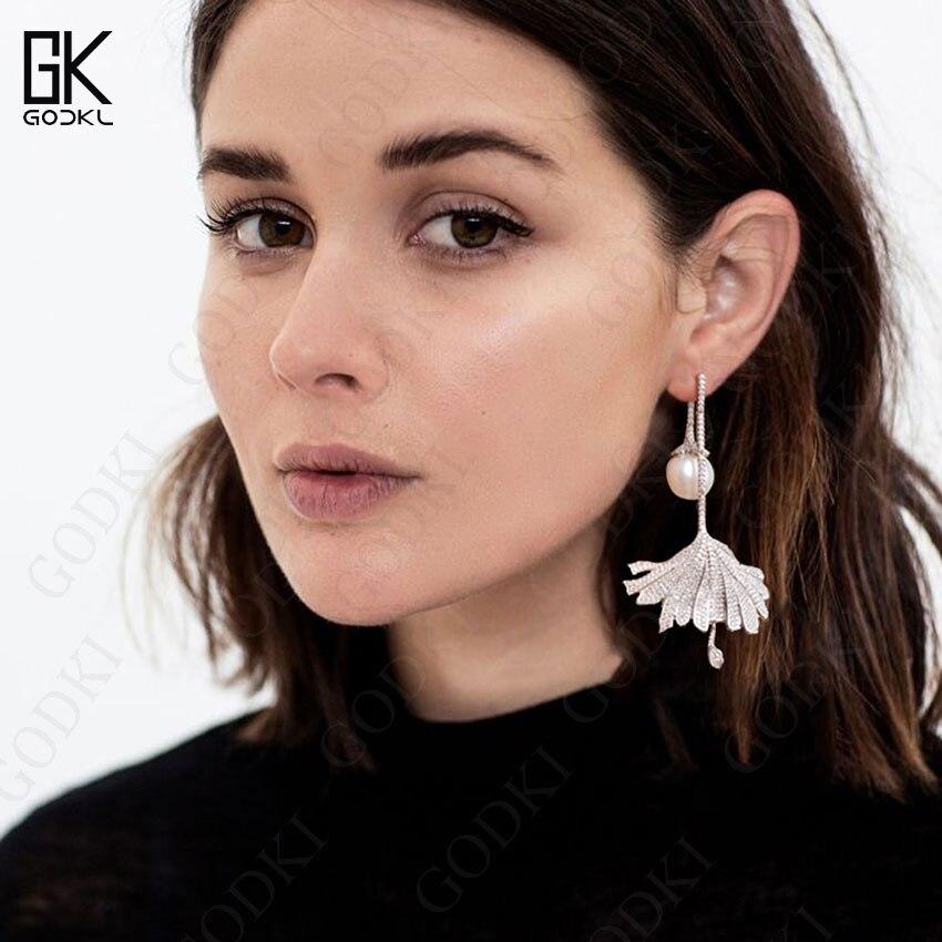 Image 2 - GODKI Luxury Imitation Pearl Long Dangle Earrings For Women Cubic Zirconia Crystal CZ Wedding Bridal Statement Drop Earring 2018Drop Earrings   -