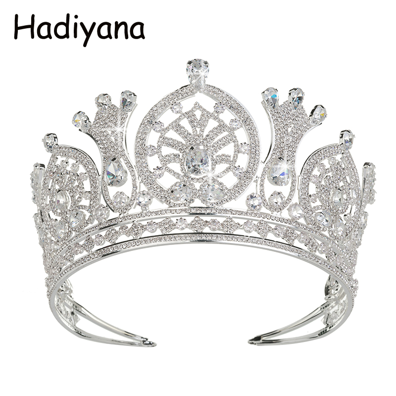Hadiyana Wedding Decoration Headdress Crowns Shows Elegant Temperament Bride Round Half Crown Tiara Retro Peacetime Party