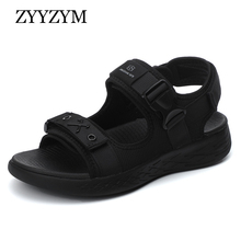 ZYYZYM Men Sandals All Black Trend Personality Slippers Men Outdoor Beach Casual Shoes Men Sandals Superior quality цена и фото