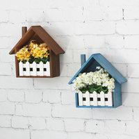 Creative Wall Flower Box Wall Shelf Sundries Storage Basket Multi Use Storage Magazine Holder Wooden Fence