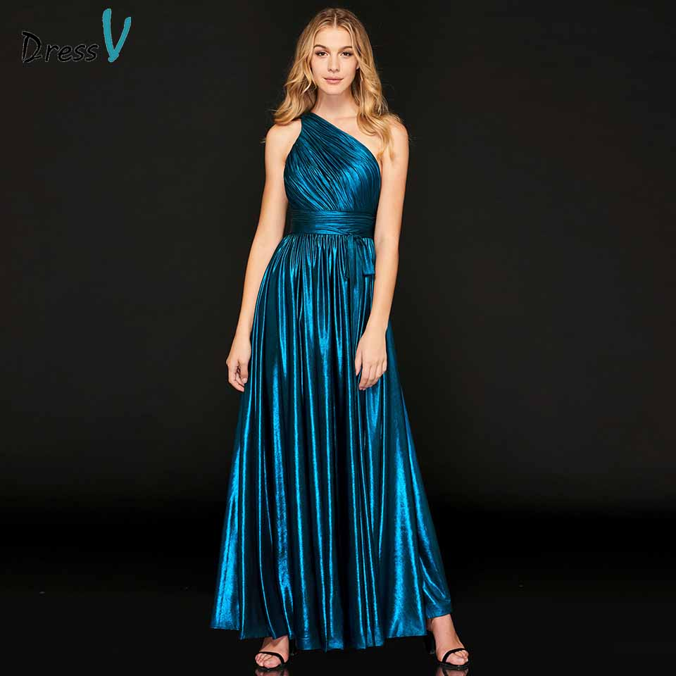 Dressv   evening     dress   one shoulder sleeveless pleats empire floor-length wedding party formal   dress     evening     dresses