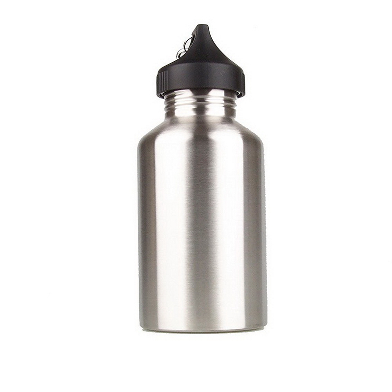 1pc New Arrival Wide Mouth Stainless Steel Outdoor Sports 2L Water Bottle with Carabiner Clip Silver