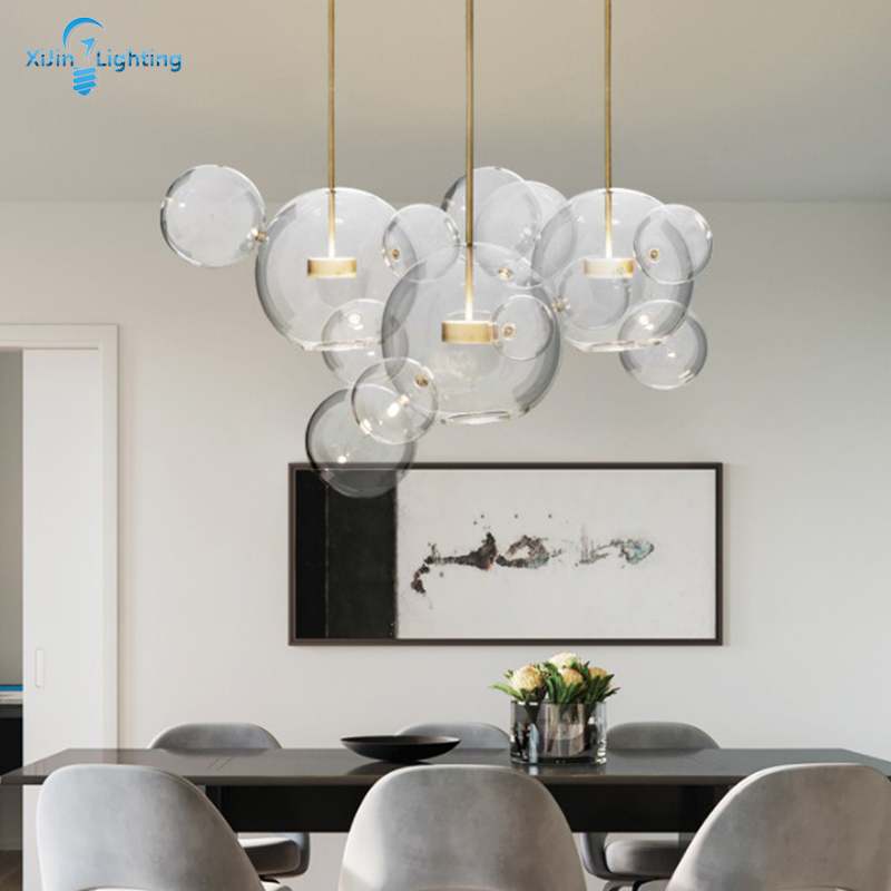 Modern Clear Glass Bubble Ball Led Pendant Lamp For Dining Room Bar Restaurant LED Glass Hang Lamp Creative Nordic Chandelier
