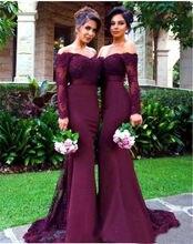 Lengan Panjang Mermaid Bridesmaid Gaun 2019 Perahu Leher Off Bahu Beaded  Appliques Elastis Panjang Satin Pesta Pernikahan Gaun f9f8558dcc01