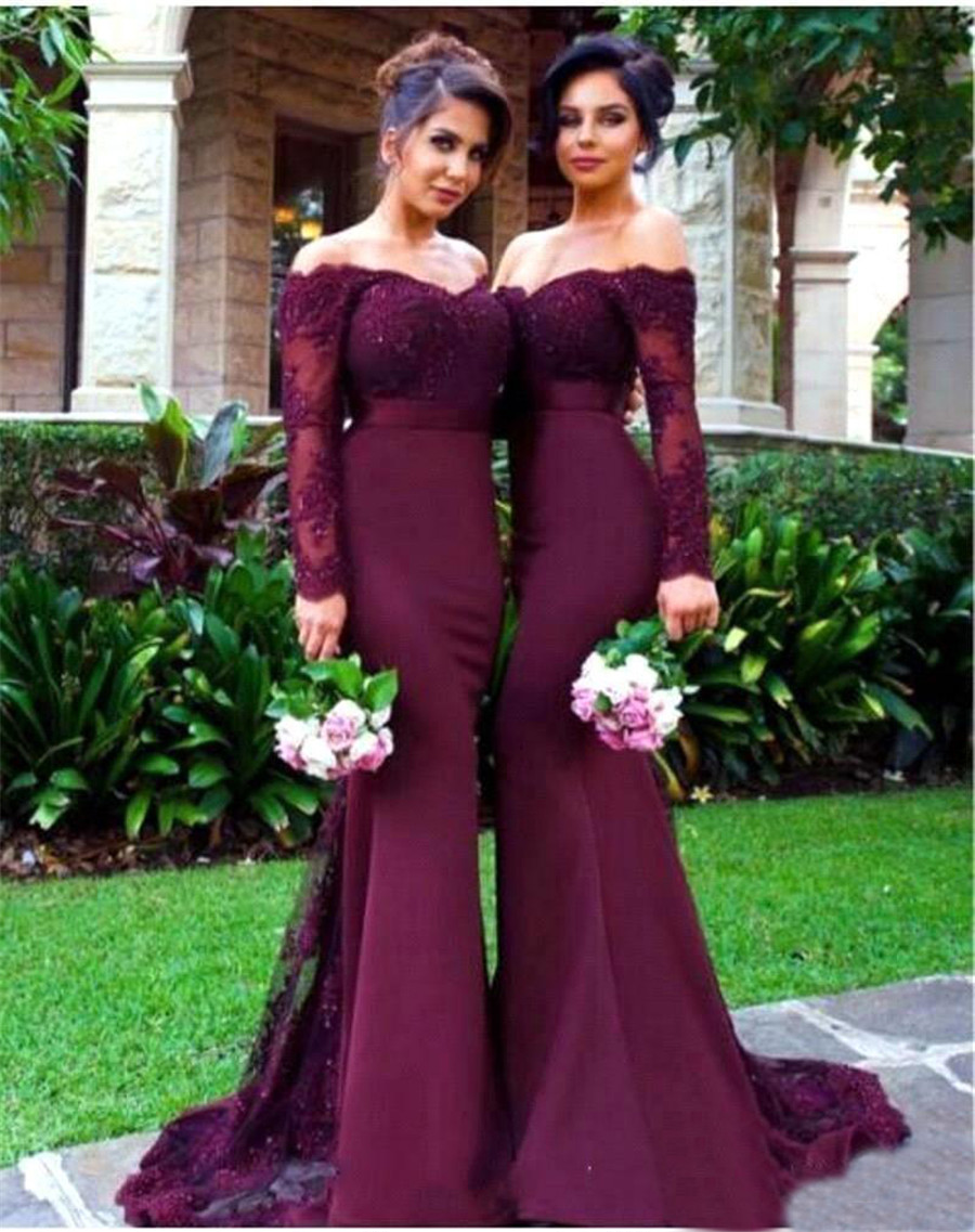 Long Sleeve Mermaid   Bridesmaid     Dress   2019 Boat Neck Off The Shoulder Beaded Appliques Elastic Satin Long Wedding Party Gowns