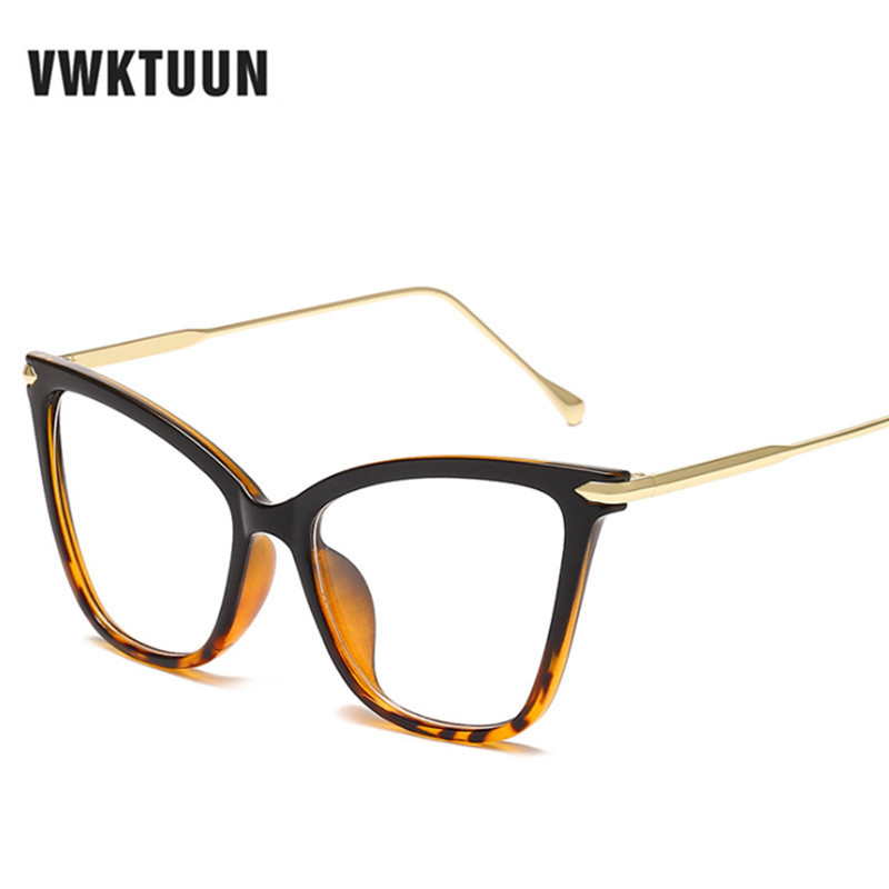 VWKTUUN Fashion Square Glasses Frames For Women Trendy Oversized Sexy Cat Eye Glasses Frame Optical Computer Eyeglasses Oculos in Women 39 s Eyewear Frames from Apparel Accessories