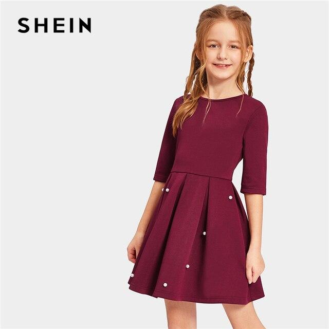 Шеин Kiddie бордовый Твердые жемчуг бисер плиссированные милые платье для девочек Лето 2019 г. Половина рукава трапециевидной формы расклешенные