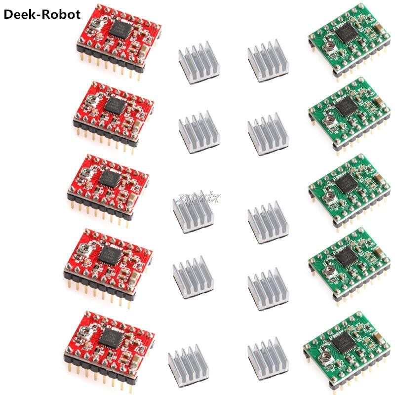 Deek-Robot 5Pcs A4988 StepStick Stepper Driver+Heatsink For Reprap Pololu 3D Printer Red / Green Z10 Drop ship deek robot 5pcs a4988 stepstick stepper driver heatsink for reprap pololu 3d printer red green z10 drop ship