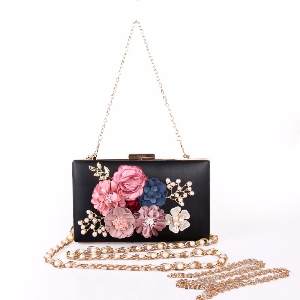 HOT SALE!2017 Women Messenger Flower Bags Fashion Mini Bag With Diamond Shell Shape Bag Women Shoulder Bags Cluth free shipping