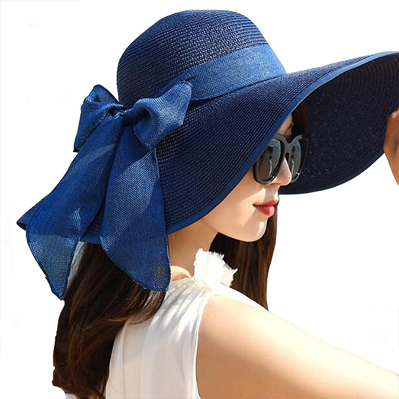 db5e8e094a797 Big Bowknot Straw Hat Floppy Foldable Roll Up Beach Cap Girls Visera Mujer  Sun Summer Hats for Women-in Sun Hats from Apparel Accessories on  Aliexpress.com ...