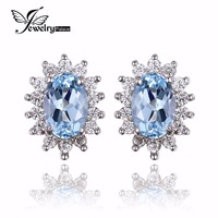 JewelryPalace Natural Topza Gemstone Earrings Stud Genuine 925 Sterling Silver Jewelry Charm Gift For Girls Brand