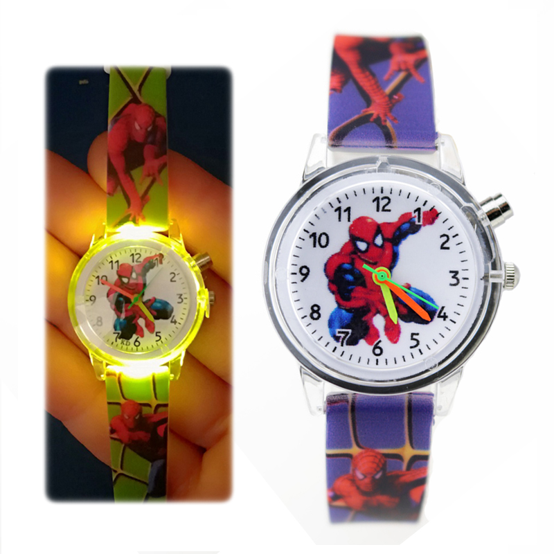 Flashing Light Spiderman Children Watch High Quality Kids Watches Glow Luminous Boys Girls Clock Printing Silicone Belt Clock