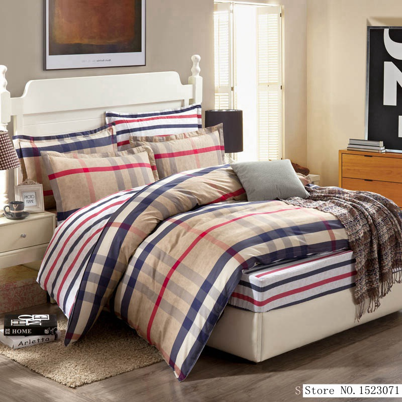 TUTUBIRD-Bohemian bedding set plaid striped bed linens fashion bedspread duvet cover fitted sheet pillowcases 100% cotton