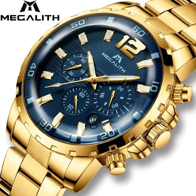 MEGALITH Роскошные повседневные часы мужские водонепроницаемые кварцевые часы с хронографом мужские часы с золотым стальным ремешком часы ...