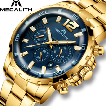 MEGALITH Luxury Casual Watches Mens Waterproof Chronograph Quartz Mens Watches Gold Steel Strap Watches Clock Relogio Masculino cheap 20cm Fashion Casual 3Bar Buckle CN(Origin) Alloy 10mm Hardlex Quartz Wristwatches Velvet STAINLESS STEEL 46mm 8048M 22mm