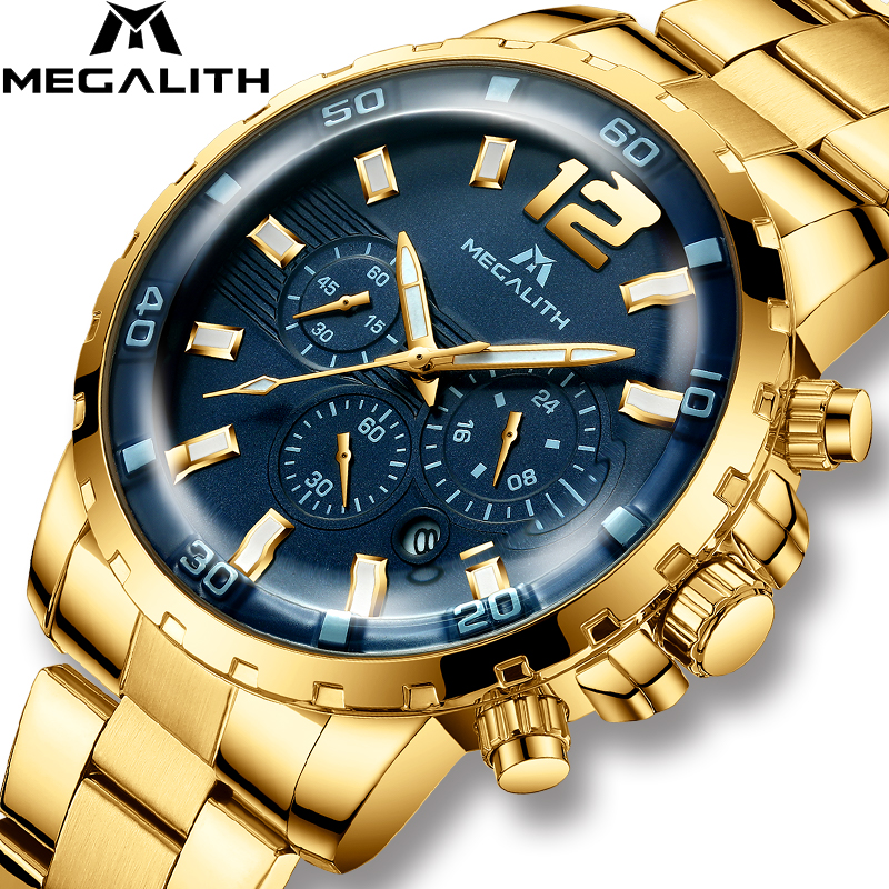 MEGALITH Luxury Casual Watches Mens Waterproof Chronograph Quartz Mens Watches Gold Steel Strap Watches Clock Relogio Masculino