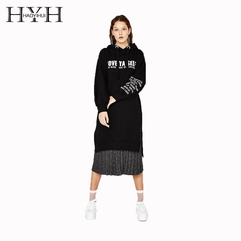HYH HAOYIHUI Street Loose Alphabet Printed Dress 2018 Autumn New Money Sweater Sides Split Long Sleeve Halter Preppy Style