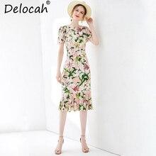 Delocah 2019 Women Spring Summer Dress Runway Fashion Short Sleeve Ruffles Floral Printed Elegant Vintage Party Mermaid Dresses цены