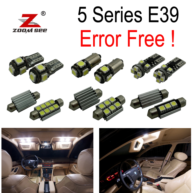 19 pcs LED bulb Interior Light Kit untuk BMW E39 5 seri Sedan Saloon 520i 535i 525i 528i 530i 540i M5 (1996-2003)