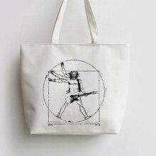 Da Vinci Rock Japanese Anime Canvas Tote bags Cartoon Shopping bag Shopper Grocery Bag GA384