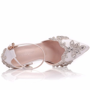 Image 4 - Crystal Queen White 11CM Rhinestone Sandals Pointed Shoes Women Sweet Luxury Platform Wedges Shoes Wedding heels High Heels