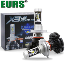 EURS qualidade Top car led farol kit X3 uso ZES Chips de 50 W 6000LM 3000 K 6500 k 8000 k farol do carro H4 H7 H11 9005 9006 9007 H13