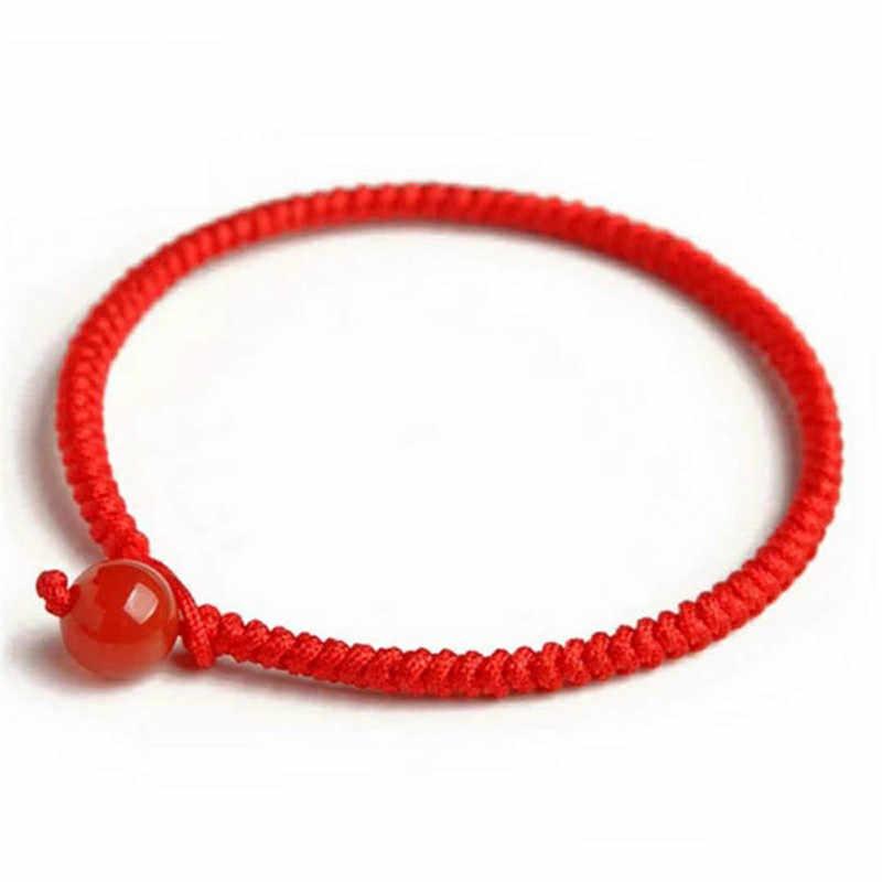 Stile cinese Intrecciato Fortunato Braccialetto di Corda Rosso filo Rosso di Pietra Fatto A Mano Tessitura Per Uomo Donna Coppia di Amanti Del Braccialetto