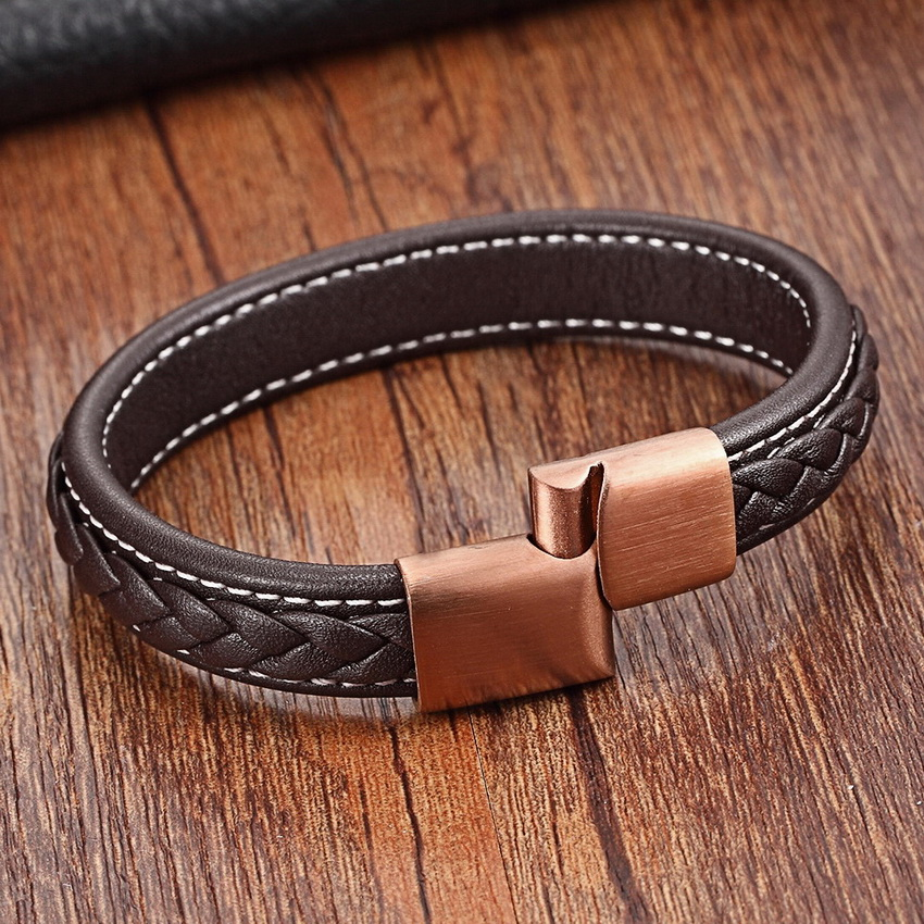 2017 New Fashion Äkta Läder Braid Charm Armband Magnetiska Buckle Clasps Vintage Women Men Armband & Bangles Mänsmycken