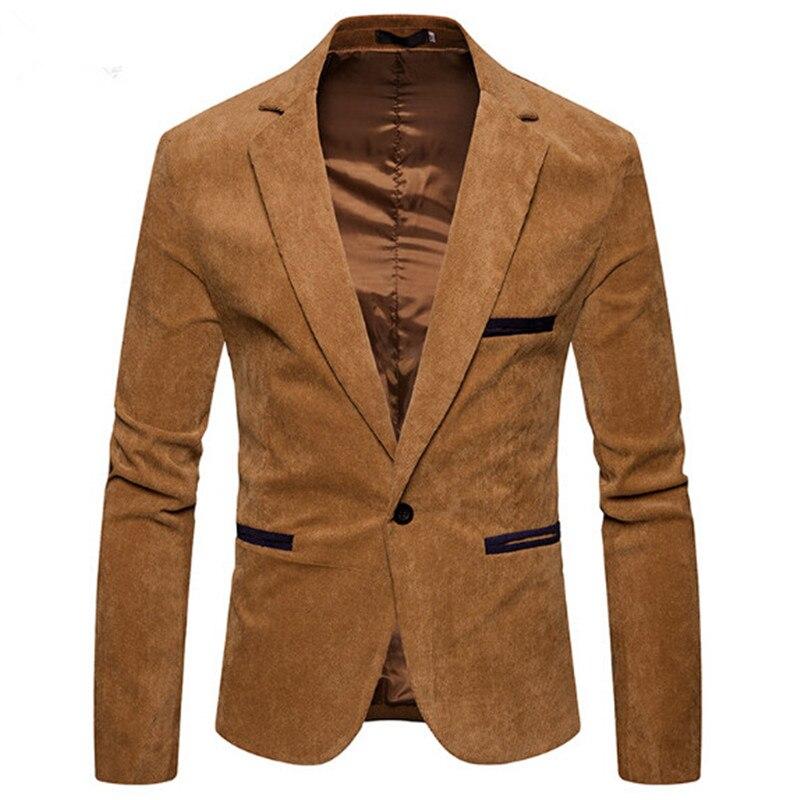 2018 Giacca Sportiva Degli Uomini Di Arrivo Monopetto Giacca Maschile Smart Casual Slim Fit Cappotto Di Velluto A Coste Degli Uomini Blazer E Vestito