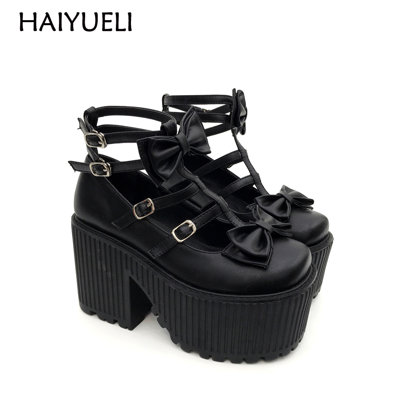 Women Ankle Boots Spring Bowknot Punk Martin Boots Buckle Black Shoes Fashion Women Party Pumps Chunky Heels Motorcycle Boots