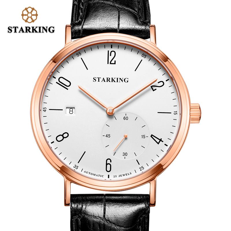STARKING Luxury Men Automatic Mechanical Watch Self-Wind Auto Date Skeleton Elegant Blue Leather Strap Wrist Watch Male AM0198 orkina luxury brand automatic mechanical men s watch black brown leather strap wrist watch gifts auto date week month display