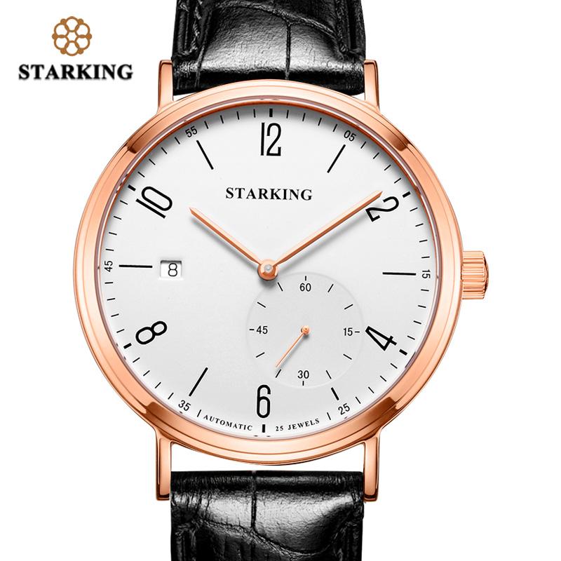 STARKING Luxury Men Automatic Mechanical Watch Self-Wind Auto Date Skeleton Elegant Blue Leather Strap Wrist Watch Male AM0232