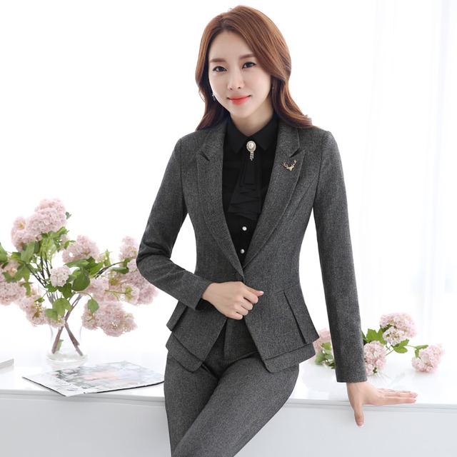 Formales Trajes Pantalón Elegantes Con Chaquetas Y Pantalones para Las Mujeres de Negocios Ropa de Trabajo Uniformes De Oficina para Damas Estilos Pantalones Fijados