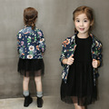 children floral jackets autumn denim coat new fashion girls flower coat  spring jackets jeans outerwear girl clothing baby cloth