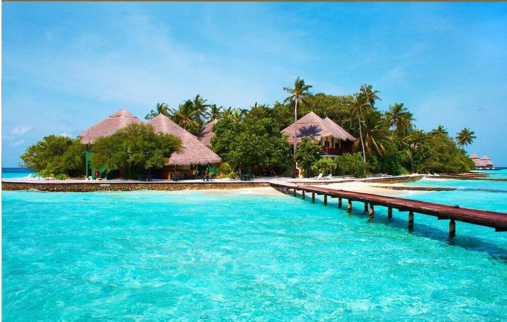3d Natura Sfondi Maldive Isola Ponte Decorazione Della Casa Sfondi