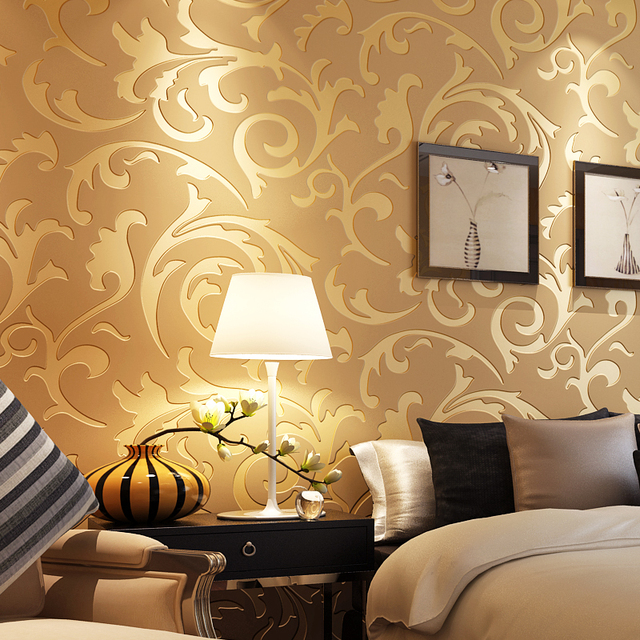 Luxury Classic Home Decor Golden Silver Damask Wall Covering ...