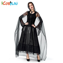 Adult Black Mystery Witch Cloak Vampire Dark Cosplay Costume Halloween Carnival Party