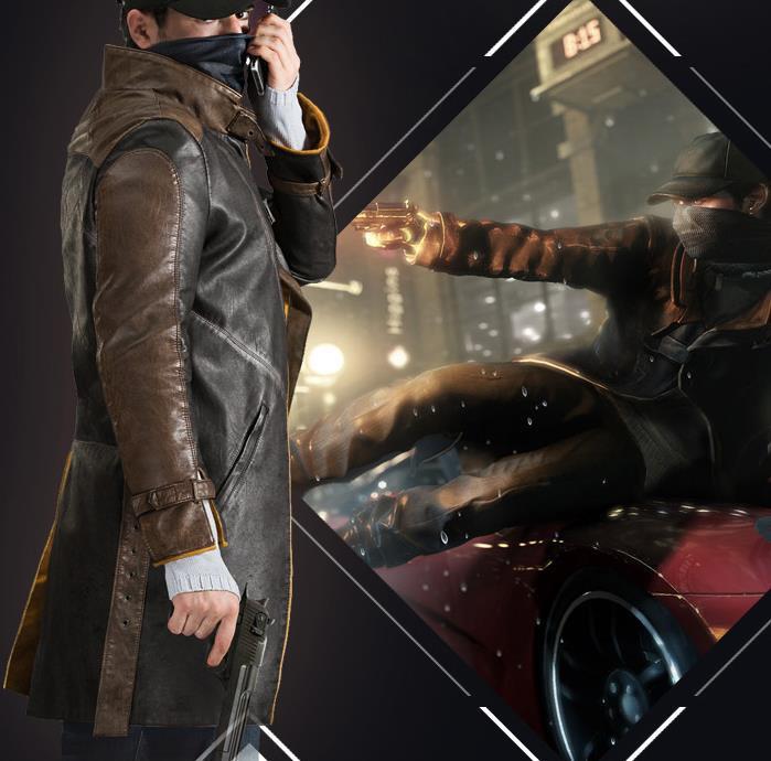 Watch Dogs, косплей, Aiden Pearce, костюм, искусственная кожа, пальто+ шапка+ шарф, маска для лица, один набор, игровой костюм для косплея